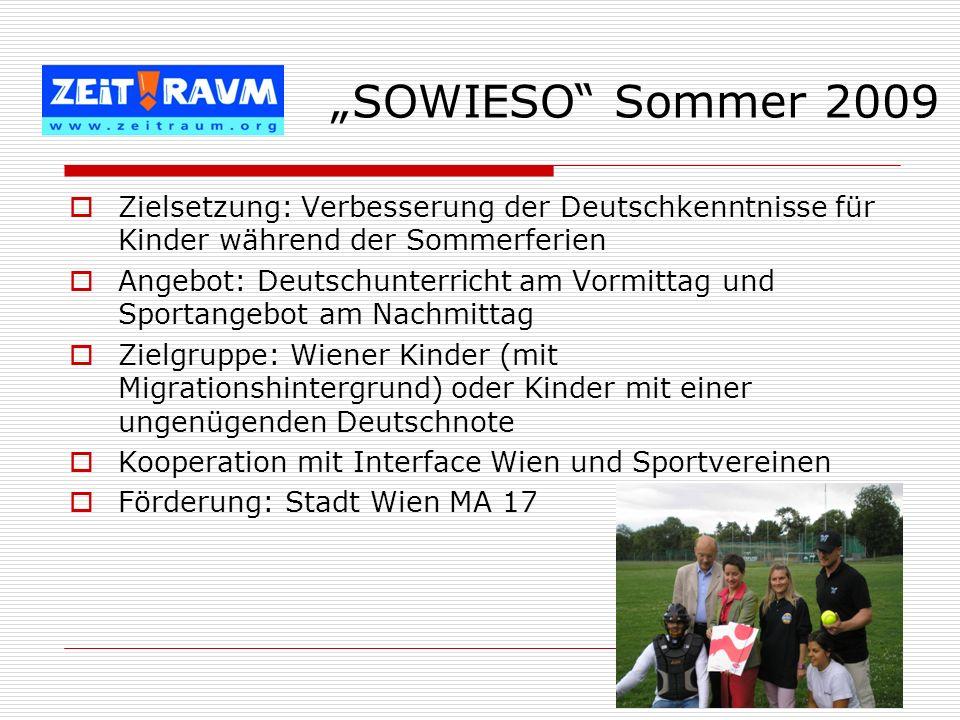 Zielsetzung: Verbesserung der Deutschkenntnisse für Kinder während der Sommerferien Angebot: Deutschunterricht am Vormittag und Sportangebot am Nachmi