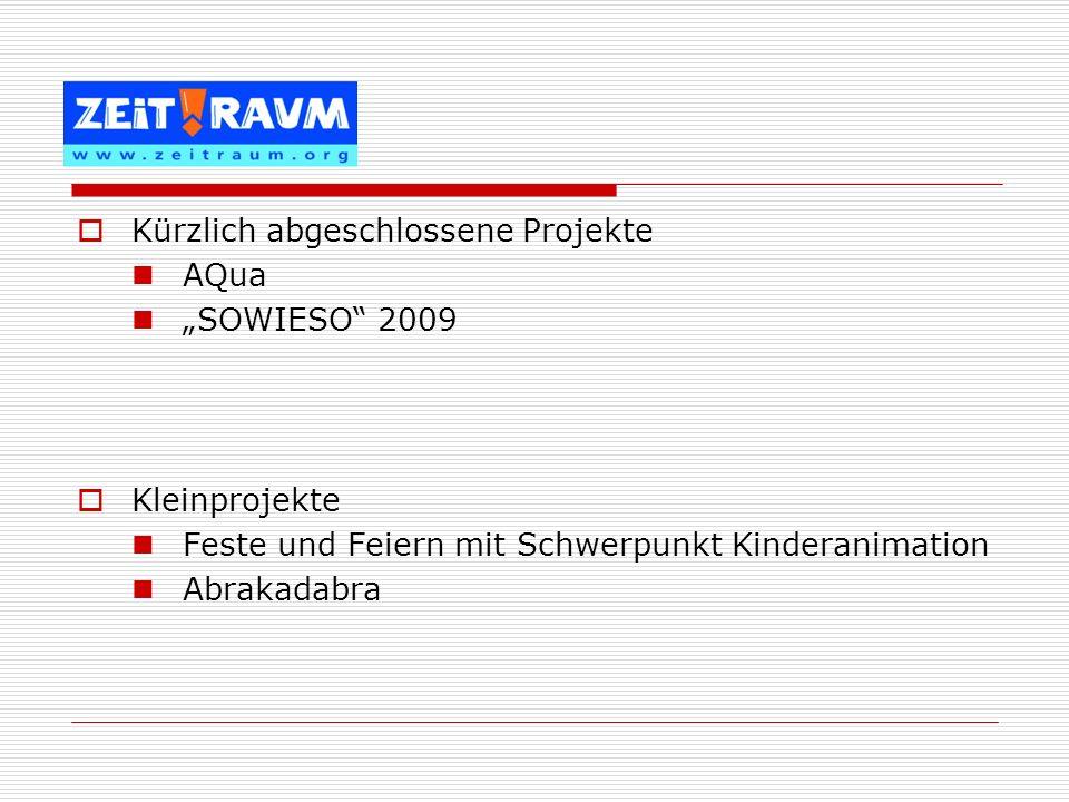 Kürzlich abgeschlossene Projekte AQua SOWIESO 2009 Kleinprojekte Feste und Feiern mit Schwerpunkt Kinderanimation Abrakadabra