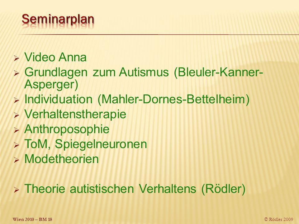 © Rödler 2009 Video Anna Grundlagen zum Autismus (Bleuler-Kanner- Asperger) Individuation (Mahler-Dornes-Bettelheim) Verhaltenstherapie Anthroposophie ToM, Spiegelneuronen Modetheorien Theorie autistischen Verhaltens (Rödler)