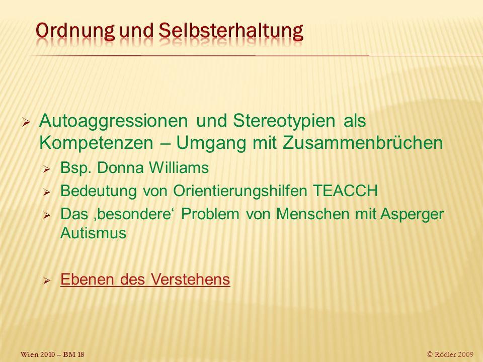 Wien 2010 – BM 18 © Rödler 2009 Autoaggressionen und Stereotypien als Kompetenzen – Umgang mit Zusammenbrüchen Bsp.