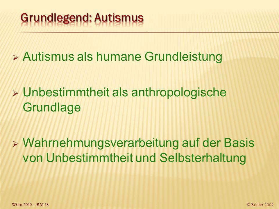 Wien 2010 – BM 18 © Rödler 2009 Autismus als humane Grundleistung Unbestimmtheit als anthropologische Grundlage Wahrnehmungsverarbeitung auf der Basis von Unbestimmtheit und Selbsterhaltung