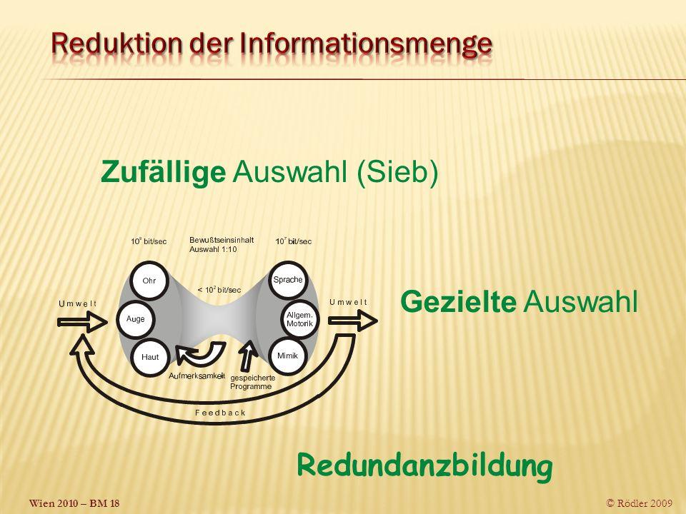Wien 2010 – BM 18 © Rödler 2009 Zufällige Auswahl (Sieb) Gezielte Auswahl Redundanzbildung