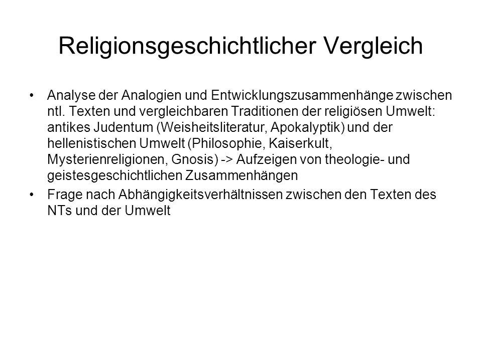 Religionsgeschichtlicher Vergleich Analyse der Analogien und Entwicklungszusammenhänge zwischen ntl.