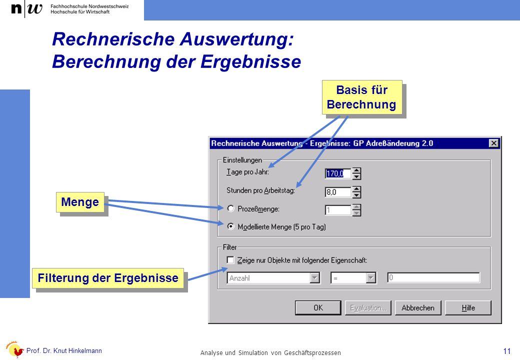Prof. Dr. Knut Hinkelmann 11 Analyse und Simulation von Geschäftsprozessen Menge Basis für Berechnung Basis für Berechnung Filterung der Ergebnisse Re
