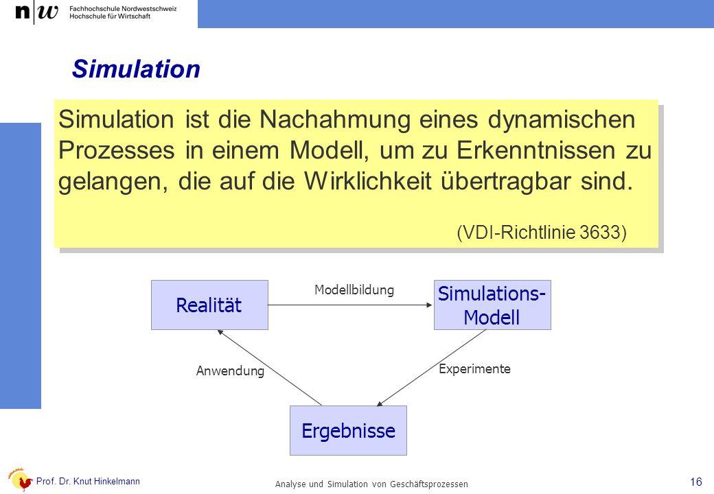 Prof. Dr. Knut Hinkelmann 16 Analyse und Simulation von Geschäftsprozessen Simulation Simulation ist die Nachahmung eines dynamischen Prozesses in ein