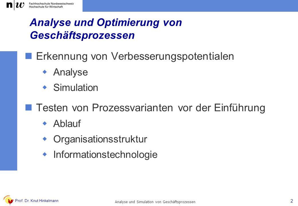 Prof. Dr. Knut Hinkelmann 2 Analyse und Simulation von Geschäftsprozessen Analyse und Optimierung von Geschäftsprozessen Erkennung von Verbesserungspo
