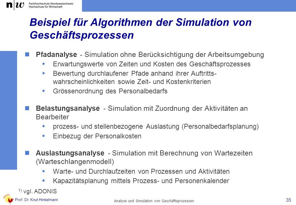 Prof. Dr. Knut Hinkelmann 35 Analyse und Simulation von Geschäftsprozessen Beispiel für Algorithmen der Simulation von Geschäftsprozessen Pfadanalyse