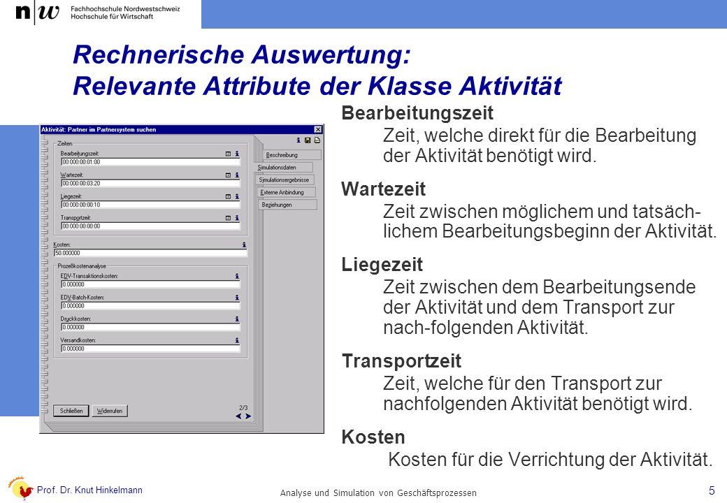 Prof. Dr. Knut Hinkelmann 5 Analyse und Simulation von Geschäftsprozessen Rechnerische Auswertung: Relevante Attribute der Klasse Aktivität Bearbeitun