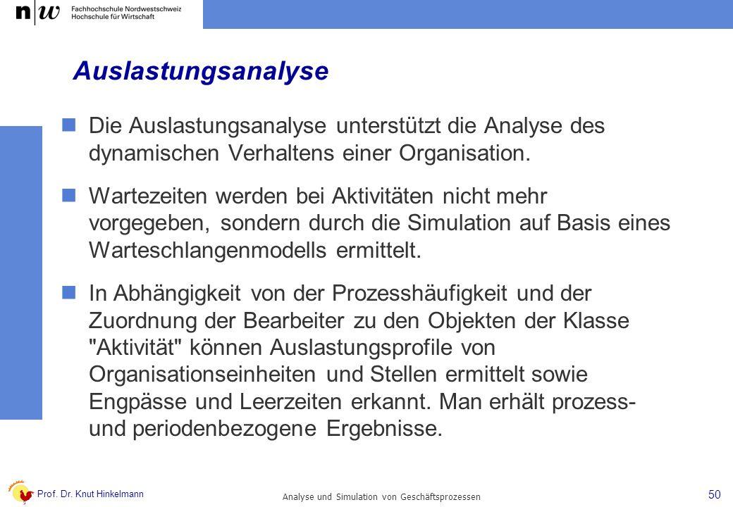 Prof. Dr. Knut Hinkelmann 50 Analyse und Simulation von Geschäftsprozessen Auslastungsanalyse Die Auslastungsanalyse unterstützt die Analyse des dynam