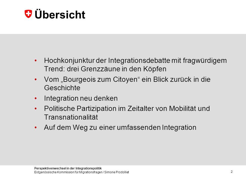Perspektivenwechsel in der Integrationspolitik Eidgenössische Kommission für Migrationsfragen / Simone Prodolliet 2 Übersicht Hochkonjunktur der Integ