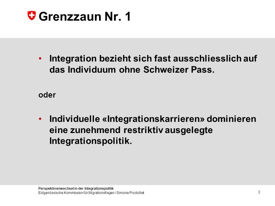 Perspektivenwechsel in der Integrationspolitik Eidgenössische Kommission für Migrationsfragen / Simone Prodolliet 3 Grenzzaun Nr. 1 Integration bezieh