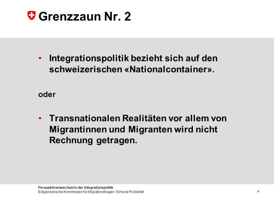 Perspektivenwechsel in der Integrationspolitik Eidgenössische Kommission für Migrationsfragen / Simone Prodolliet 4 Grenzzaun Nr. 2 Integrationspoliti