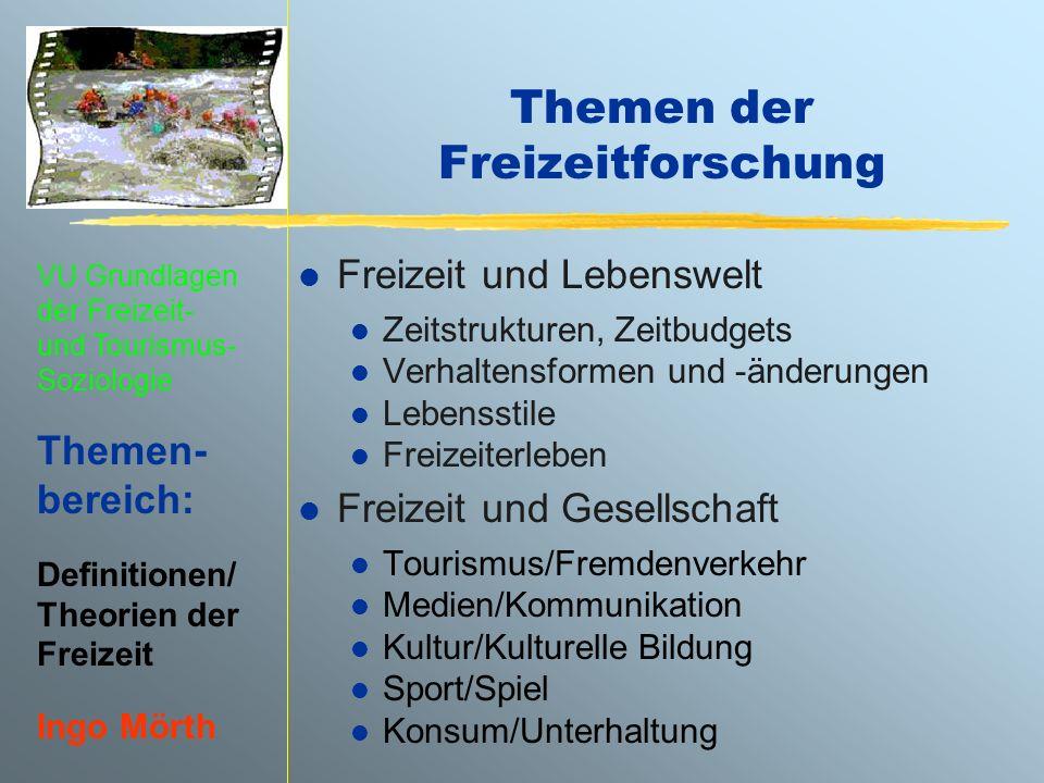 VU Grundlagen der Freizeit- und Tourismus- Soziologie Themen- bereich: Definitionen/ Theorien der Freizeit Ingo Mörth Themen der Freizeitforschung l F