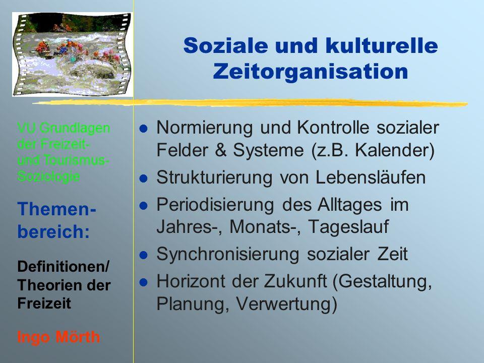VU Grundlagen der Freizeit- und Tourismus- Soziologie Themen- bereich: Definitionen/ Theorien der Freizeit Ingo Mörth Soziale und kulturelle Zeitorgan