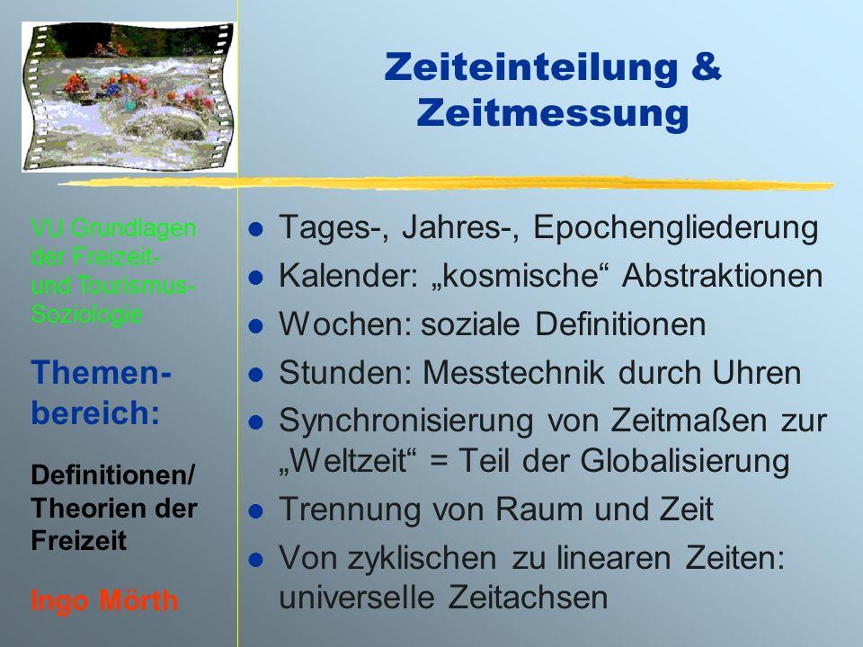 VU Grundlagen der Freizeit- und Tourismus- Soziologie Themen- bereich: Definitionen/ Theorien der Freizeit Ingo Mörth Zeiteinteilung & Zeitmessung l T