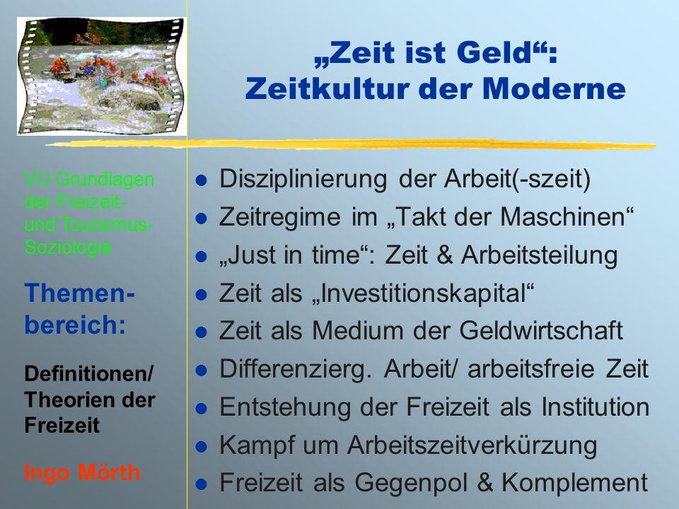 VU Grundlagen der Freizeit- und Tourismus- Soziologie Themen- bereich: Definitionen/ Theorien der Freizeit Ingo Mörth Zeit ist Geld: Zeitkultur der Mo