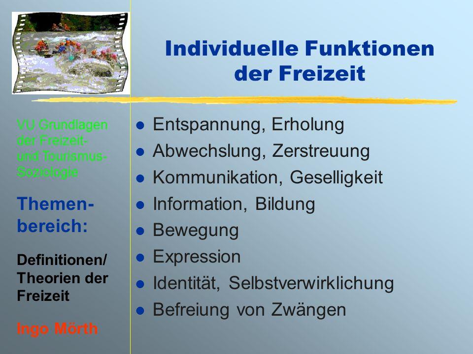 VU Grundlagen der Freizeit- und Tourismus- Soziologie Themen- bereich: Definitionen/ Theorien der Freizeit Ingo Mörth Individuelle Funktionen der Frei