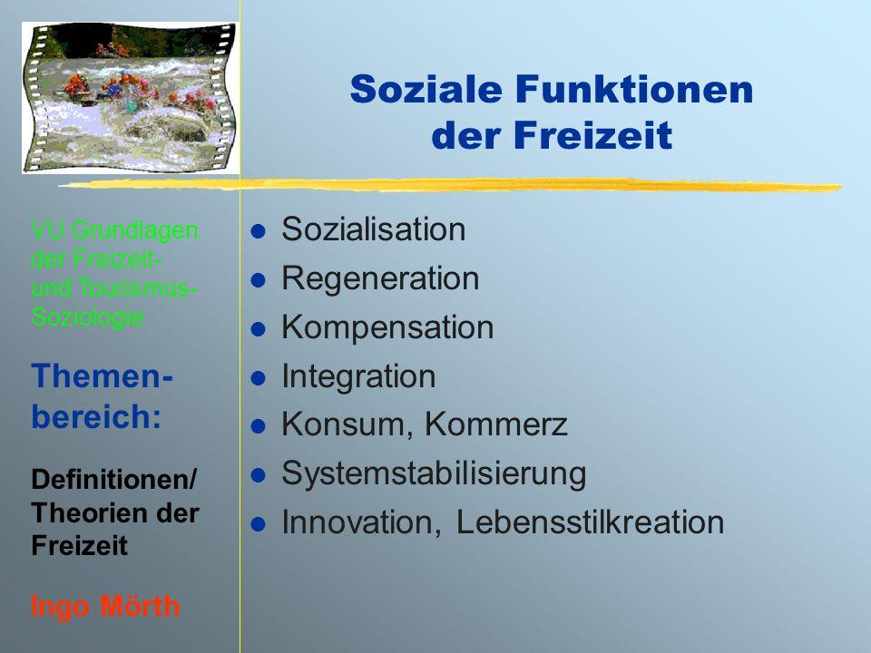VU Grundlagen der Freizeit- und Tourismus- Soziologie Themen- bereich: Definitionen/ Theorien der Freizeit Ingo Mörth Soziale Funktionen der Freizeit