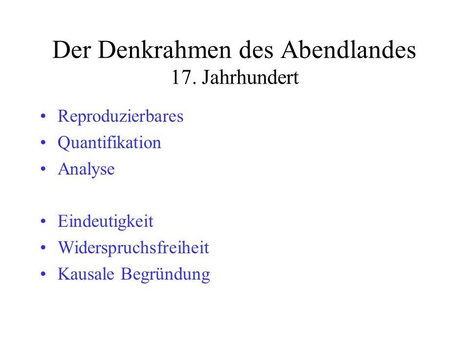 Der Denkrahmen des Abendlandes 17. Jahrhundert Reproduzierbares Quantifikation Analyse Eindeutigkeit Widerspruchsfreiheit Kausale Begründung