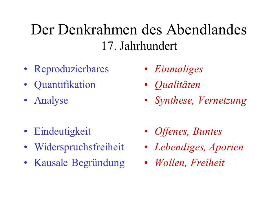 Der Denkrahmen des Abendlandes 17. Jahrhundert Reproduzierbares Quantifikation Analyse Eindeutigkeit Widerspruchsfreiheit Kausale Begründung Einmalige