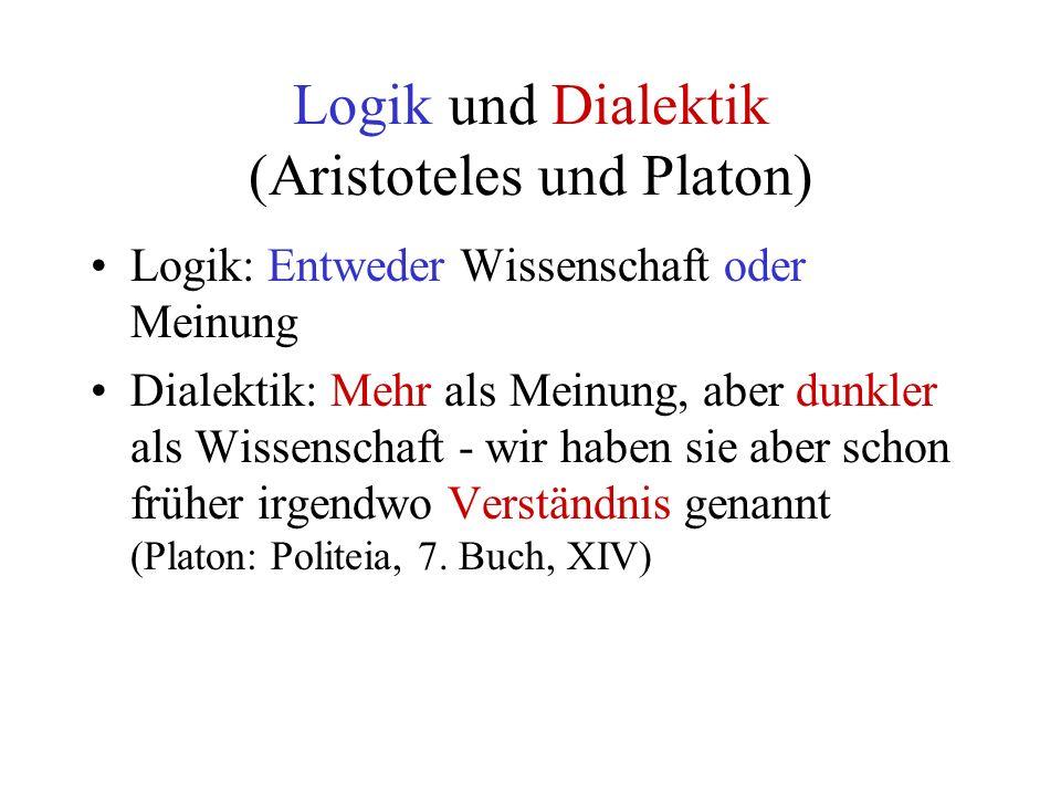 Logik und Dialektik (Aristoteles und Platon) Logik: Entweder Wissenschaft oder Meinung Dialektik: Mehr als Meinung, aber dunkler als Wissenschaft - wir haben sie aber schon früher irgendwo Verständnis genannt (Platon: Politeia, 7.