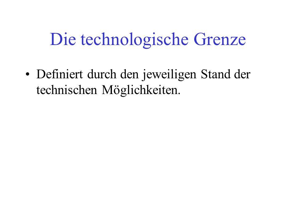 Die technologische Grenze Definiert durch den jeweiligen Stand der technischen Möglichkeiten.