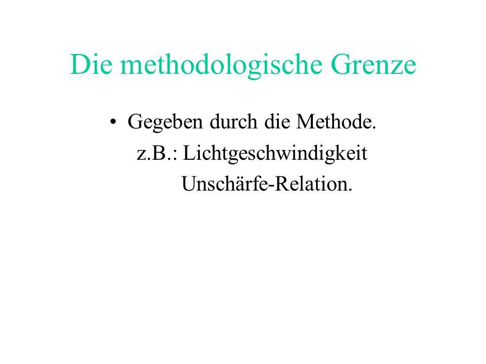 Die methodologische Grenze Gegeben durch die Methode. z.B.: Lichtgeschwindigkeit Unschärfe-Relation.