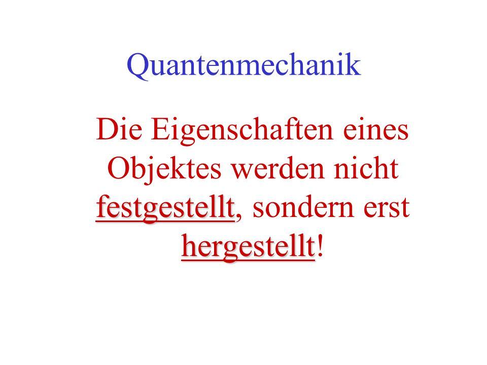 Quantenmechanik festgestellt hergestellt Die Eigenschaften eines Objektes werden nicht festgestellt, sondern erst hergestellt!