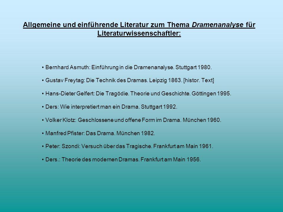 Allgemeine und einführende Literatur zum Thema Dramenanalyse für Literaturwissenschaftler: Bernhard Asmuth: Einführung in die Dramenanalyse. Stuttgart