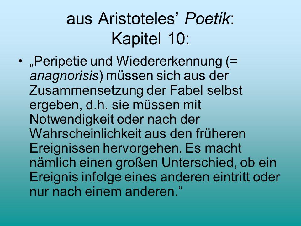 aus Aristoteles Poetik: Kapitel 10: Peripetie und Wiedererkennung (= anagnorisis) müssen sich aus der Zusammensetzung der Fabel selbst ergeben, d.h. s