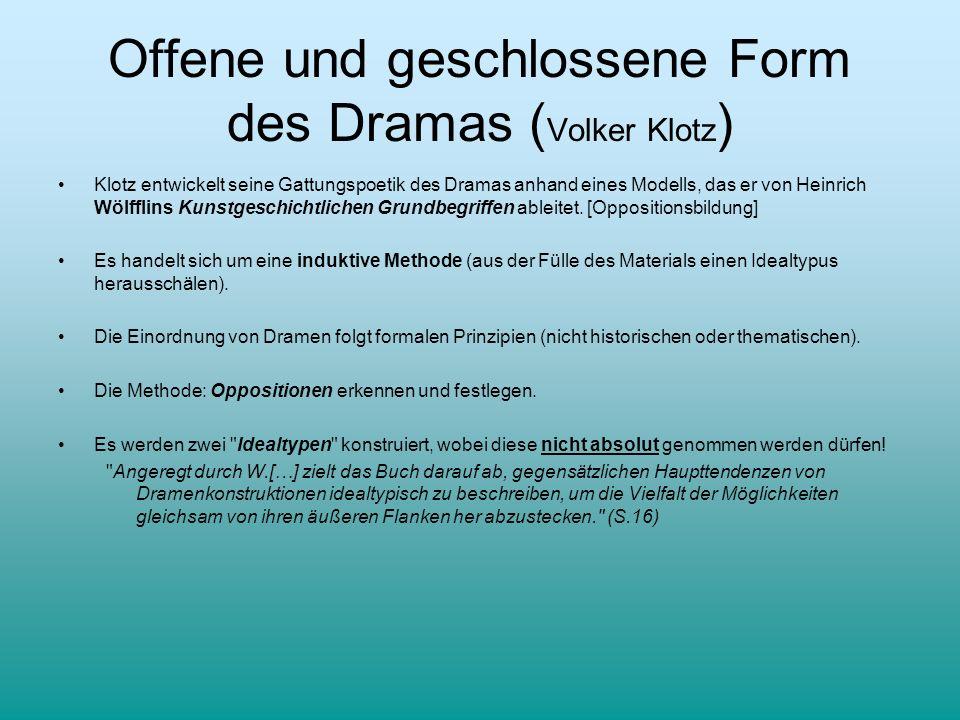 Offene und geschlossene Form des Dramas ( Volker Klotz ) Klotz entwickelt seine Gattungspoetik des Dramas anhand eines Modells, das er von Heinrich Wö