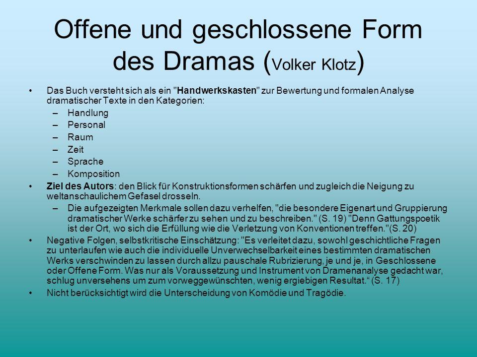 Offene und geschlossene Form des Dramas ( Volker Klotz ) Das Buch versteht sich als ein