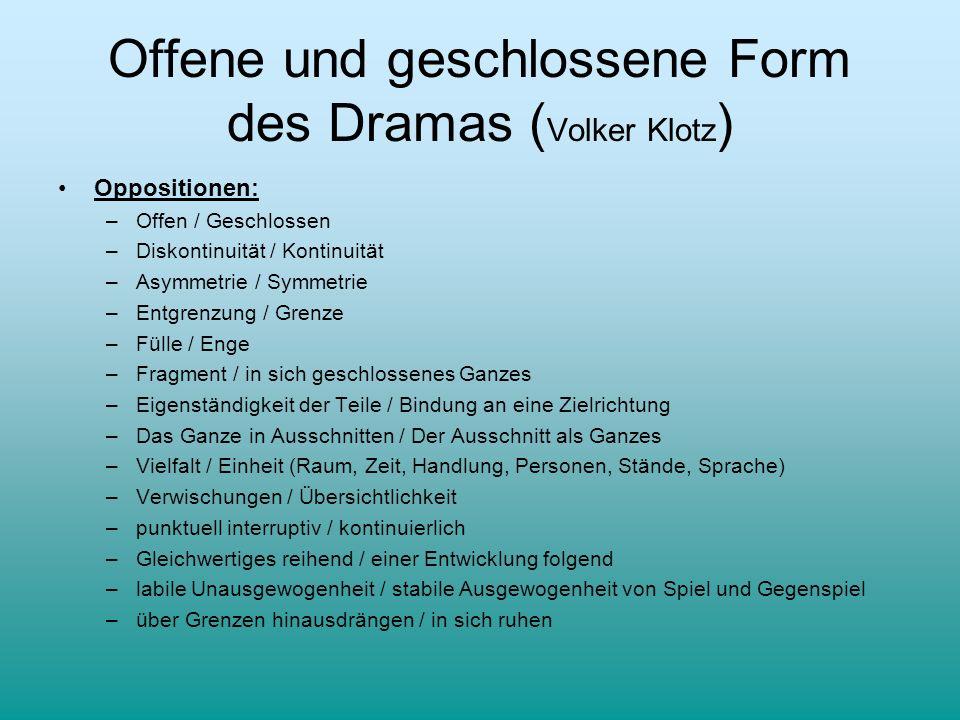 Offene und geschlossene Form des Dramas ( Volker Klotz ) Oppositionen: –Offen / Geschlossen –Diskontinuität / Kontinuität –Asymmetrie / Symmetrie –Ent