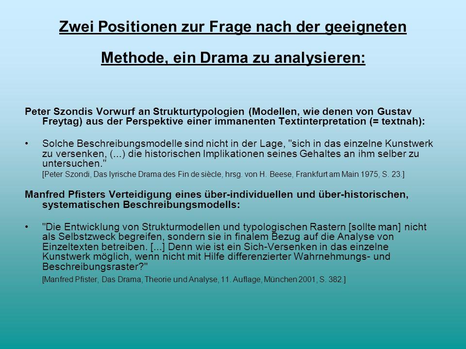 Zwei Positionen zur Frage nach der geeigneten Methode, ein Drama zu analysieren: Peter Szondis Vorwurf an Strukturtypologien (Modellen, wie denen von