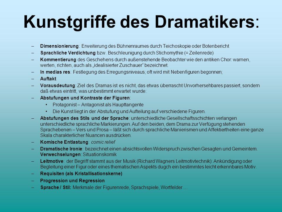 Kunstgriffe des Dramatikers: –Dimensionierung: Erweiterung des Bühnenraumes durch Teichoskopie oder Botenbericht –Sprachliche Verdichtung bzw. Beschle
