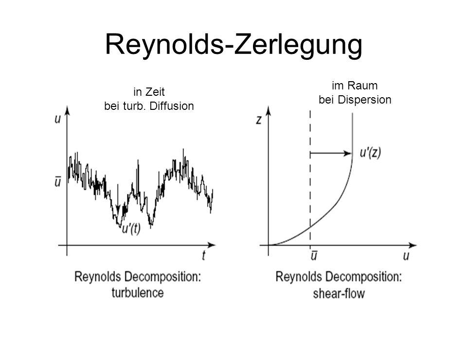 Reynolds-Zerlegung in Zeit bei turb. Diffusion im Raum bei Dispersion