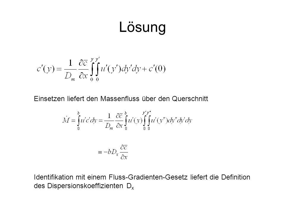Lösung Einsetzen liefert den Massenfluss über den Querschnitt Identifikation mit einem Fluss-Gradienten-Gesetz liefert die Definition des Dispersionsk