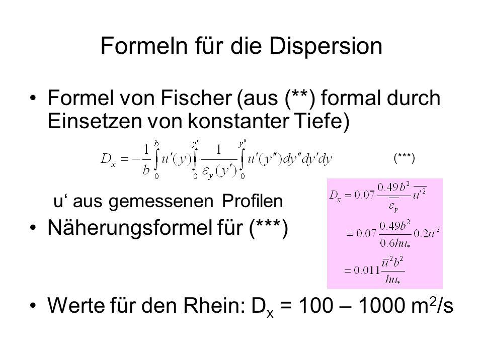 Formeln für die Dispersion Formel von Fischer (aus (**) formal durch Einsetzen von konstanter Tiefe) u aus gemessenen Profilen Näherungsformel für (**