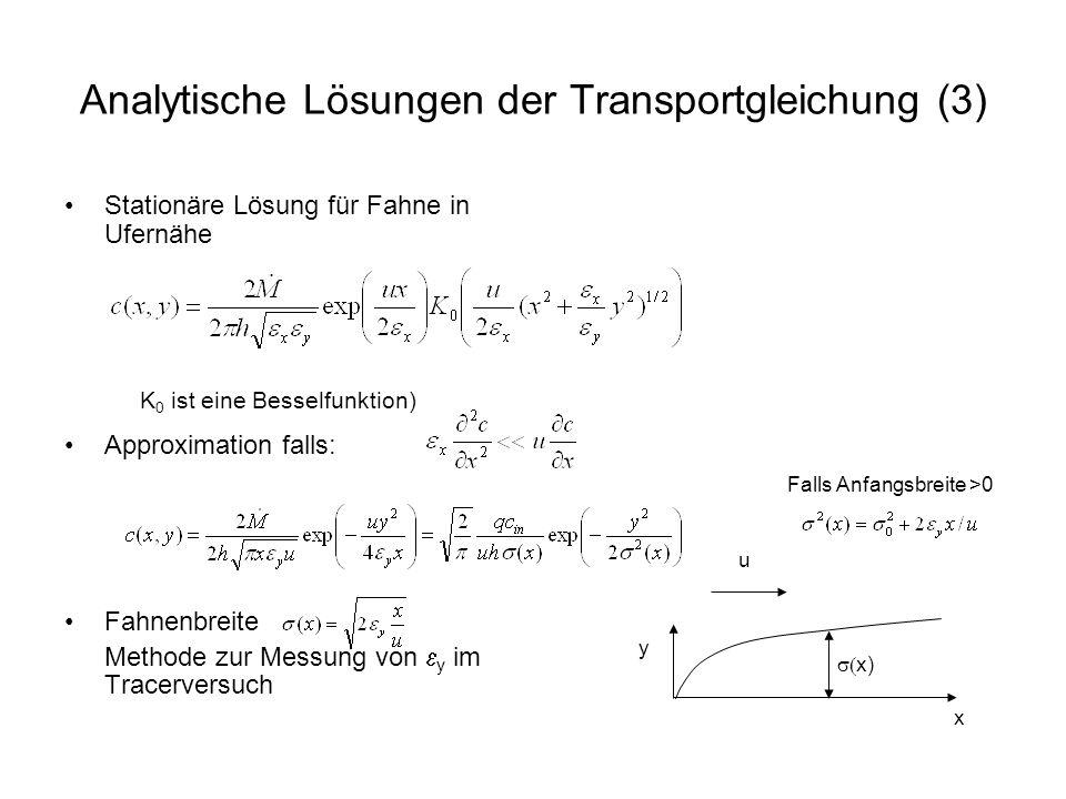Analytische Lösungen der Transportgleichung (3) Stationäre Lösung für Fahne in Ufernähe Approximation falls: Fahnenbreite Methode zur Messung von y im