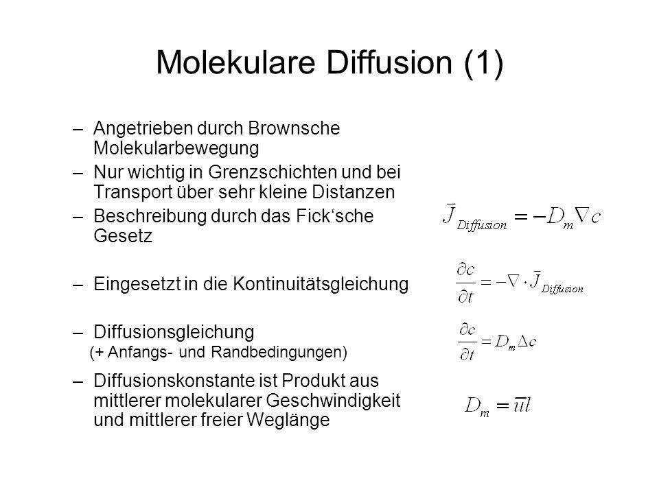 Molekulare Diffusion (1) –Angetrieben durch Brownsche Molekularbewegung –Nur wichtig in Grenzschichten und bei Transport über sehr kleine Distanzen –B