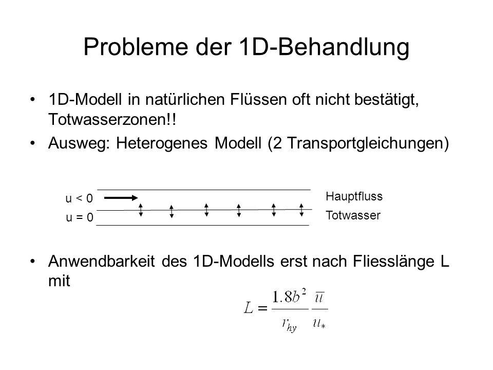Probleme der 1D-Behandlung 1D-Modell in natürlichen Flüssen oft nicht bestätigt, Totwasserzonen!! Ausweg: Heterogenes Modell (2 Transportgleichungen)