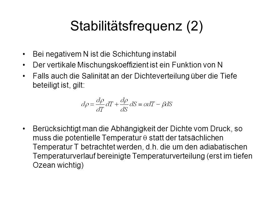 Stabilitätsfrequenz (2) Bei negativem N ist die Schichtung instabil Der vertikale Mischungskoeffizient ist ein Funktion von N Falls auch die Salinität