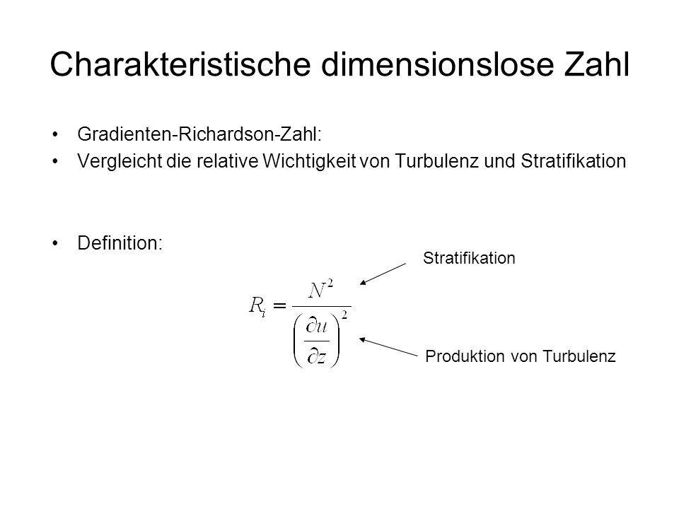 Charakteristische dimensionslose Zahl Gradienten-Richardson-Zahl: Vergleicht die relative Wichtigkeit von Turbulenz und Stratifikation Definition: Str