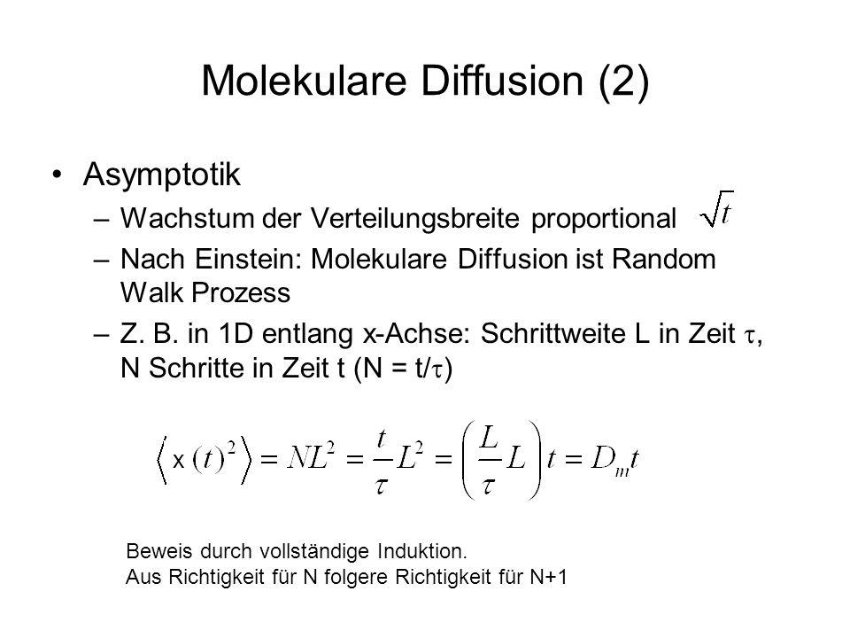 Molekulare Diffusion (2) Asymptotik –Wachstum der Verteilungsbreite proportional –Nach Einstein: Molekulare Diffusion ist Random Walk Prozess –Z. B. i