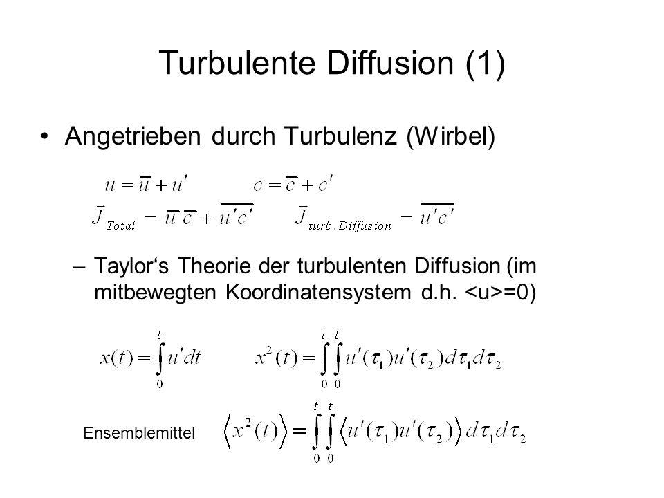Turbulente Diffusion (2) Lagrangesche Autokorrelationsfunktion für stationäre Turbulenz 1 R( ) Lagrangesche Zeitskala Ersetze s = 2 - 1, = ( 1 + 2 )/2 Analog für