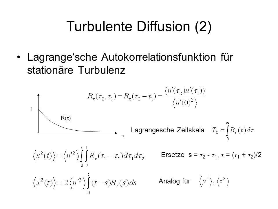 Turbulente Diffusion (3) Grenzbetrachtungen –Für sehr kleine t ist R x ungefähr 1 also kein Diffusionsprozess da proportional zu t 2 –Für sehr grosse t (t > T L ) –Turbulenter Diffusionskoeffizient