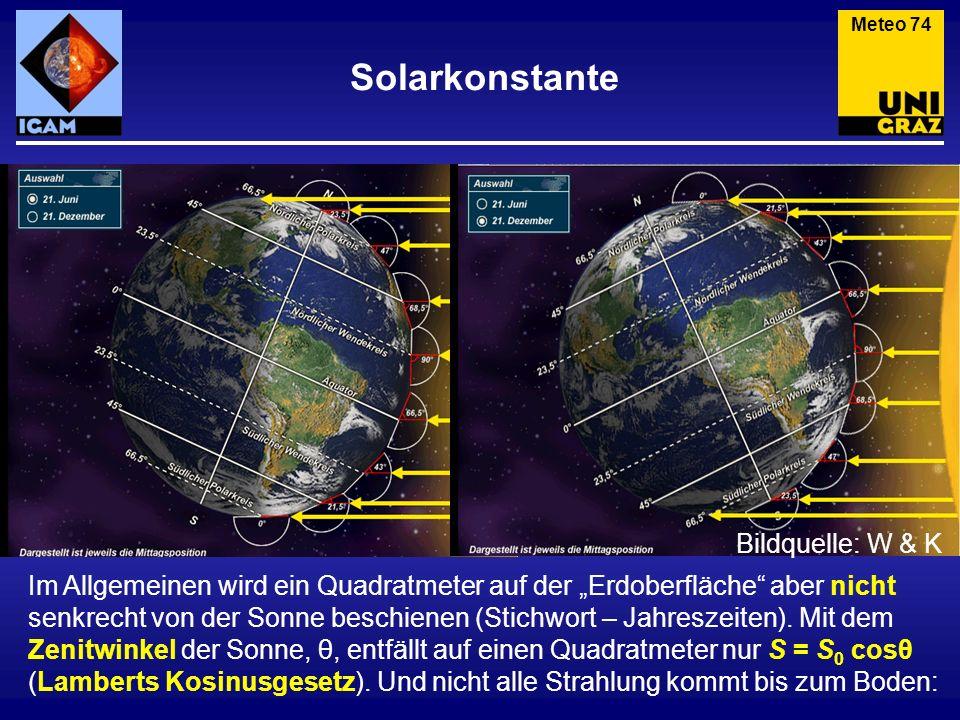 Solarkonstante Meteo 74 Im Allgemeinen wird ein Quadratmeter auf der Erdoberfläche aber nicht senkrecht von der Sonne beschienen (Stichwort – Jahresze