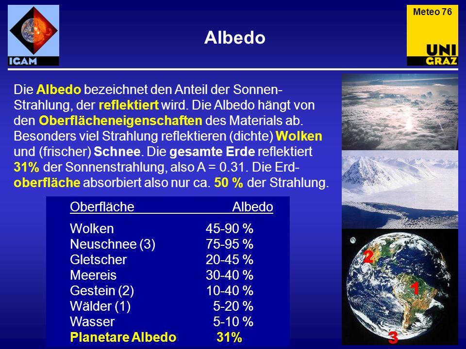Albedo Meteo 76 Die Albedo bezeichnet den Anteil der Sonnen- Strahlung, der reflektiert wird. Die Albedo hängt von den Oberflächeneigenschaften des Ma
