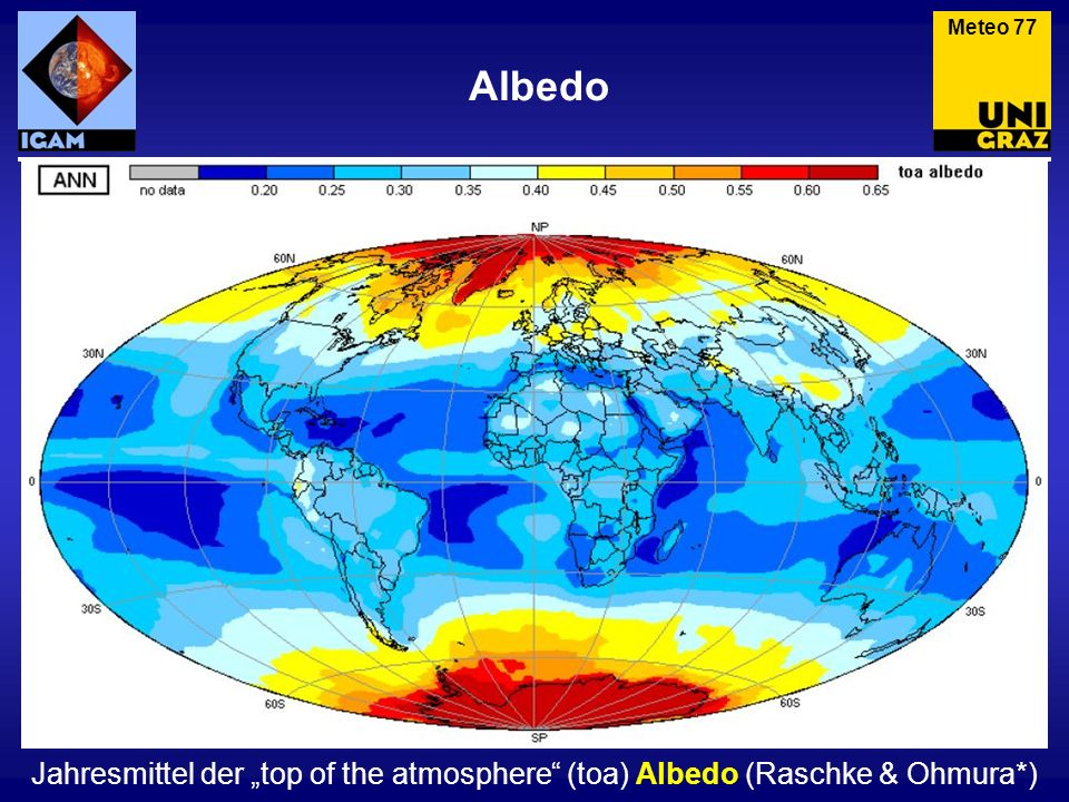 Albedo Meteo 77 Jahresmittel der top of the atmosphere (toa) Albedo (Raschke & Ohmura*)