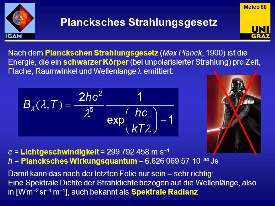 Plancksches Strahlungsgesetz Meteo 68 Nach dem Planckschen Strahlungsgesetz (Max Planck, 1900) ist die Energie, die ein schwarzer Körper (bei unpolari